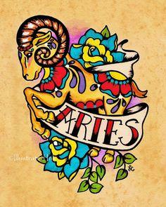 Old School Tattoo Zodiac Art ARIES Ram Astrology Print 5 x 7, 8 x 10 or 11 x 14