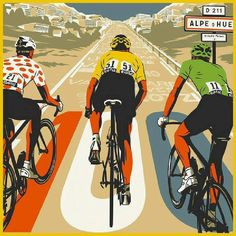 """""""Tour de France"""" poster by Bill Butcher Bycicle Illustration, Bycicle Art Cycling Art, Road Cycling, Cycling Bikes, Cycling Quotes, Velo Vintage, Vintage Cycles, Images Victoriennes, Bike Illustration, Bike Poster"""