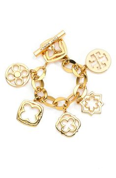 "Tory Burch ""Geo Star"" Charm Bracelet $195 - Beautiful!!! 8.5"" in length 16k Gold Plating"