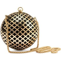 H&M Round clutch bag ($38) ❤ liked on Polyvore featuring bags, handbags, clutches, gold, chain handle handbags, white handbags, print purse, print handbags and round handbag
