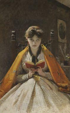 Woman Reading by Mosè Bianchi, 1865