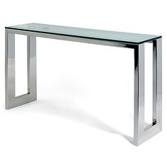 Oslo Console Table   Mirror Polished Stainless Steel Or Old Penny Bronze  With 15mm Glass Top