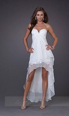 Sleeveless Tea Length La Femme 15033,White Strapless Prom Dresses