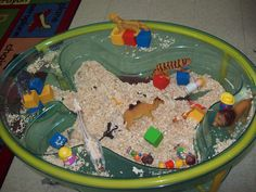 Circus Sensory Table! Wood shavings, animals, little people and colourful blocks.