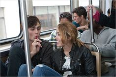 Love this part<3  Douglas Booth and Miley Cyrus sharing a tootsie pop YUM!