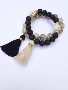 Tassel Bracelet, Boho Bracelet, Stackable Bracelet with Black and Cream Marbled Beads and Black Tassel