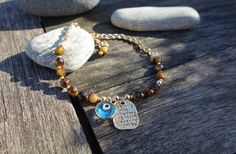 Tigers Eye Message Tag Charm Evil Eye Bracelet by cocolocca