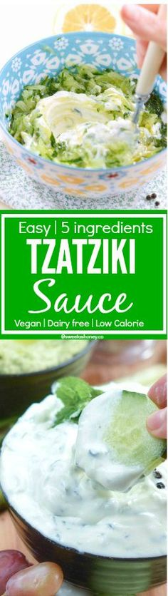 Vegan Tzatziki Sauce or Yogurt Cucumber Sauce| Easy 5 ingredients | Skinny Dip | Low Calories | Allergy friendly: Soy free, dairy free , gluten free, paleo