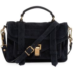 Proenza Schouler PS1 Tiny Suede Satchel Bag ($1,165) ❤ liked on Polyvore featuring bags, handbags, navy, flap handbags, handbag satchel, navy blue suede handbag, suede handbags and proenza schouler handbags