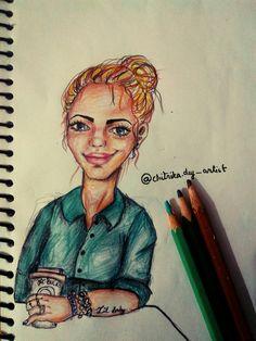 cartoon illistration , basic bitch , messy bun , Starbucks , chic , pencil portrait , cartoonist