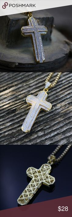 Fully Iced Out Lab Diamond Cross Pendant Necklace 14k Gold Rhodium Fully Iced Out Lab Diamond Cross Pendant With 24 Inch Box Chain  White Lab Simulated diamonds in micro pave. Chain 14k gold plated over 316 stainless steel.Pendant size is 35mm in length.2mm width 20,22,24 or 26 inch length 14k gold plated 316 stainless steel box chain is included. Ts Verniel  Accessories Jewelry