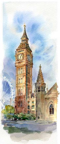 Clock tower watercolor