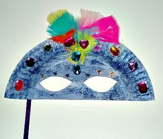 Paper Plate Mardi Gras Mask Craft from Kiboomu