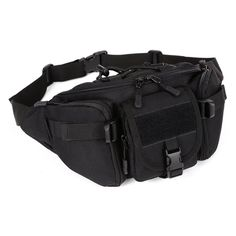 Tactical Waist Pack CREATOR Portable Fanny Pack Outdoor Hiking Travel Large Army Waist Bag Military Waist Pack for Daily Life Cycling Camping Hiking Hunting Fishing Shopping Black Molle Bag, Molle Pouches, Tactical Pouches, Tactical Bag, Tactical Packs, Waterproof Fanny Pack, Waterproof Camera, Molle System, Waist Pack