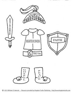 Craft templates to make a complete paper armor of God ...