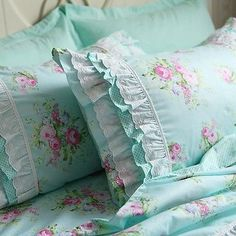 Shabby Green Rose chic country cottage ruffle lace pillow sham in Home & Garden, Home Décor, Pillows | eBay