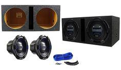 "Package: (2) Hifonics BRX12D4 Brutus 12"" Dual 4-Ohm 900 Watts Peak / 450 Watts RMS Car Subwoofers + Rockville RDV12 Dual 12"" 1.55 cu.ft. Vented Subwoofer Enclosure + Dual Enclosure Wire Kit With 14 Gauge Speaker Wire + Screws + Spade Terminals"