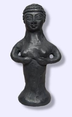 Asherah, later known as Astarte or Ashtaroth, the Goddess of Love and War, shown here in her original Canaanite and Philistine Cult statue was the Bride/Consort of Baal the God of Storms. [Israel Muse