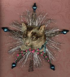 Antique Chromolithograph Cat Tree Topper