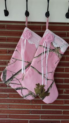 Pink Realtree Camo with White Vintage Lace Trim, Pink Crochet Flower, and Ribbon Accent Christmas Stocking $25   #Realtreecmao
