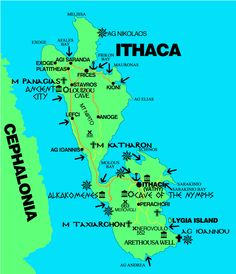 """Penelope lives in Ithaca, Greece. This is a map of Ithaca.""""Ithaca being most lofty in the coastal sea, and north west, while the rest lie east and south."""" (fitzgerald,146)"""
