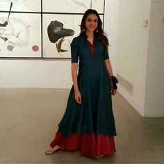 at an Art Exhibit in New York wearing Indian Attire, Indian Ethnic Wear, Ethnic Suit, Indian Dresses, Indian Outfits, Western Outfits, Indian Couture, Kurta Designs, Mode Hijab