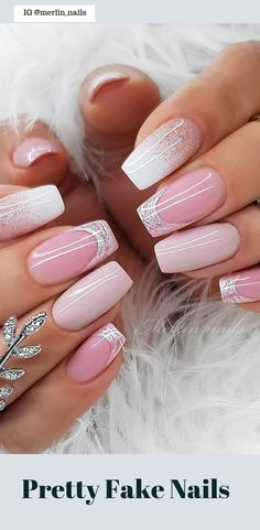 50 Pretty Fake Nails Easy 2019 – Alexandra Ramirez 50 Pretty Fake Nails Easy 2019 Pretty Fake Nails Metallic nail designs are the hottest trend right now with Sliver and Glitter With Unique Design Of Nails Picture Credit Pretty Nail Designs, Pretty Nail Art, Simple Nail Designs, Nail Art Designs, Pink Nails, My Nails, Black Nails, Finger, Best Acrylic Nails
