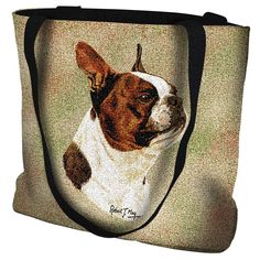 Brown Boston Terrier Portrait Art Tapestry Tote Bag