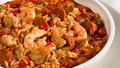 Retired NFL Quarterback Brett Favre's family recipe for Jambalaya is filled with shrimp, chicken, sausage, ham, and peppers simmered in a Creole tomato sauce. You'll find this very dish served at Brett Favre's Steakhouse, in Green Bay, Wisconsin.