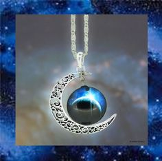 CELESTIAL SILVER FILIGREE CRESCENT MOON GLASS OPTIC BLUE SPACE GALAXY NECKLACE #Handmade #Pendant