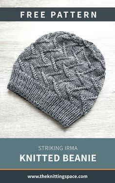 Craft this simple yet striking knitted beanie for your next fall and winter adventures. This hat will keep you warm during a hike or on camping trips.   Discover over 3,000 free knitting patterns at theknittingspace.com #knitpatternsfree #easyknittingpatterns #knittingforbeginners #handmadegifts #giftideas #DIY #fallknittingpatterns #fallknittingprojects #fallstyle #fallcrafts #fallaesthetic #winterfashion