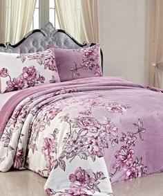 Look at this #zulilyfind! Lilac Floral Fleece Bedding Set by BNF Home Inc. #zulilyfinds