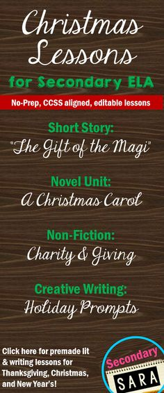 """Click here for free and cheap lessons, units, and activities for an ELA Christmas! Get """"The Gift of the Magi"""", A Christmas Carol, Non-fiction article lessons, and creative writing prompts!"""