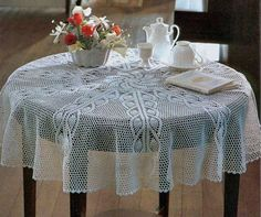 Crochet Lace Tablecloth Round White Heirloom by CrochetMiracles, $145.00
