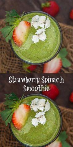 Strawberry Spinach Smoothie, Spinach Smoothie Recipes, Beet Smoothie, Spinach Recipes, Smoothies, Vegetarian Breakfast Recipes Indian, Raw Spinach, Vegan Milk, Food Videos