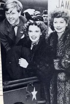 Mickey Rooney, Judy Garland, and Lucille Ball on a USO tour