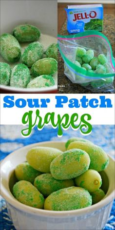 Sour Patch Grapes - When rolled in lime Jello and frozen, these grapes taste suspiciously like candy. If you make them with sugar free Jello, they are 0 Weight Watchers points.