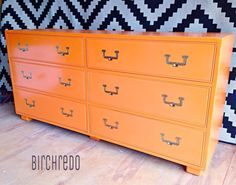 Orange campaign style dresser #colorfurniture