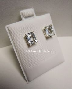 White Topaz earrings 8x6mm White Topaz Studs clear gemstone studs, large emerald cut White gemstone stud earrings, Natural gemstone earrings by HickoryHillGems on Etsy https://www.etsy.com/listing/182099524/white-topaz-earrings-8x6mm-white-topaz