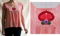 traditional Hungarian men's mantle embroidery (szurhimzes) reinterpreted on an organic voile blouse