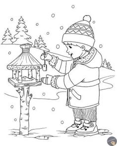 Coloring Sheets For Kids, Coloring Pages For Kids, Coloring Books, Winter Trees, Winter Art, Christmas Signs, Christmas Colors, Word Drawings, Christmas Coloring Pages