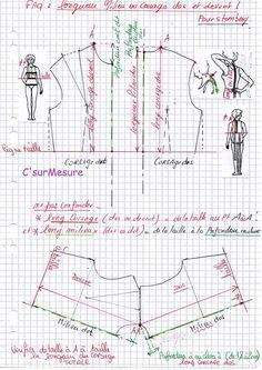 Att : ne pas confondre les longueurs corsage et les longueurs milieux ! voir dans coupe à plat ou patronnage sur le blog!