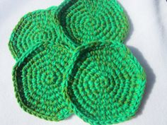 Green Coasters Set of Four Double Thickness by crochetedbycharlene, $15.00