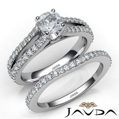 Cushion Diamond Engagement Ring Certified by GIA, H Color & VS1 clarity, 14k White Gold (1.7 ct. Total weight.)