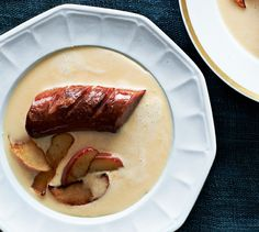 Beer and Cheddar Soup with Kielbasa Sausage. This rich and cheesy beer and cheddar broth is satisfying on its own, but goes main course with the addition of seared kielbasa sausage. via Bon Appetit Beer Recipes, Irish Recipes, Sausage Recipes, Soup Recipes, Cooking Recipes, Recipies, Cooking 101, Savoury Recipes, Cheese Recipes