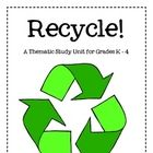 """$6.95 Recycle! is an integrated thematic unit which will encourage both you and your students to """"Go green"""". This 26-page theme includes lesson plans wit..."""