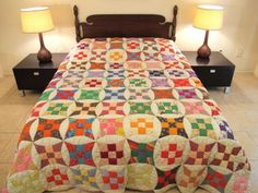 KING-QUEEN-Vintage-All-Cotton-CURVED-NINE-PATCH-QUILT-Bedspread-96-x-85