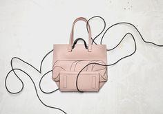 Eva Tote printed leather pink
