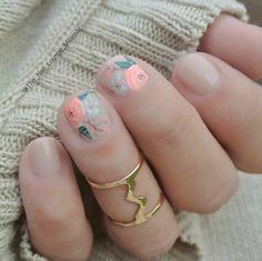 Coral mint green Vintage flowers bridal shower nail art design