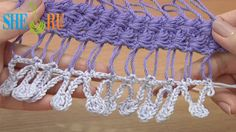 Hairpin crochet strip with additional crochet - Tutorial 32 - You Tube 5 min - Sheru Knitting